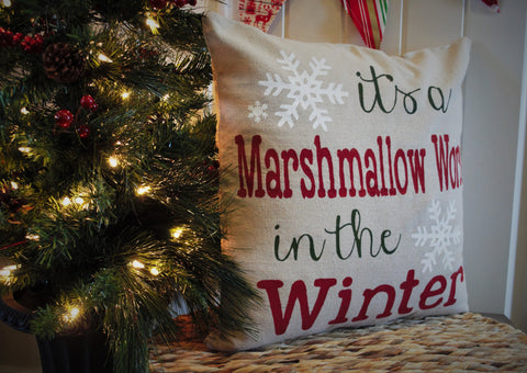 It's a marshmallow world in the winter Christmas pillow cover - Our Traditions Boutique - 2