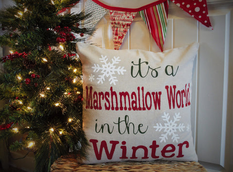 It's a marshmallow world in the winter Christmas pillow cover - Our Traditions Boutique - 1