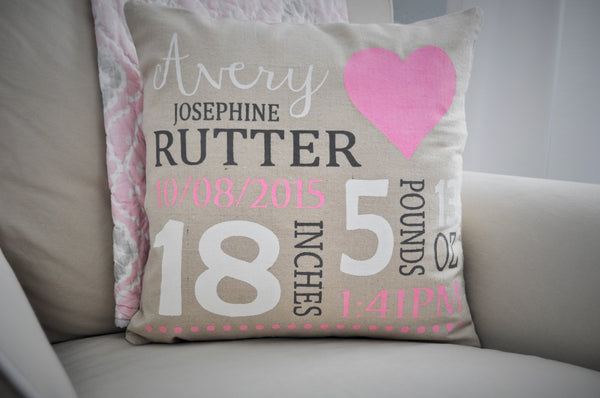 Heart Themed Personalized birth pillow cover - Our Traditions Boutique - 3