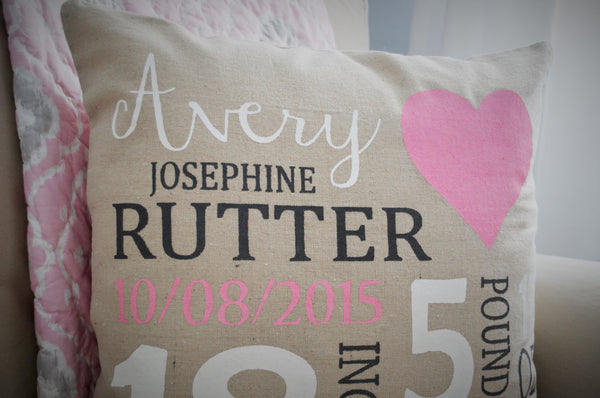 Heart Themed Personalized birth pillow cover - Our Traditions Boutique - 2