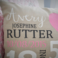 Nursery Heart themed Personalized Pillow Cover - Baby Stats Pillow - Our Traditions Boutique - 2