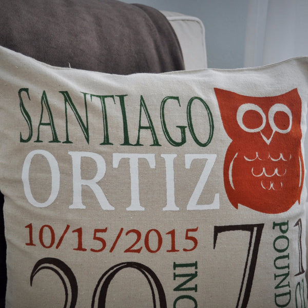 Owl Theme - Personalized birth pillow cover - Our Traditions Boutique - 3