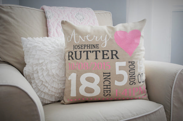 Heart Themed Personalized birth pillow cover - Our Traditions Boutique - 1
