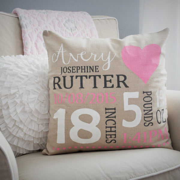 Nursery Heart themed Personalized Pillow Cover - Baby Stats Pillow - Our Traditions Boutique - 1