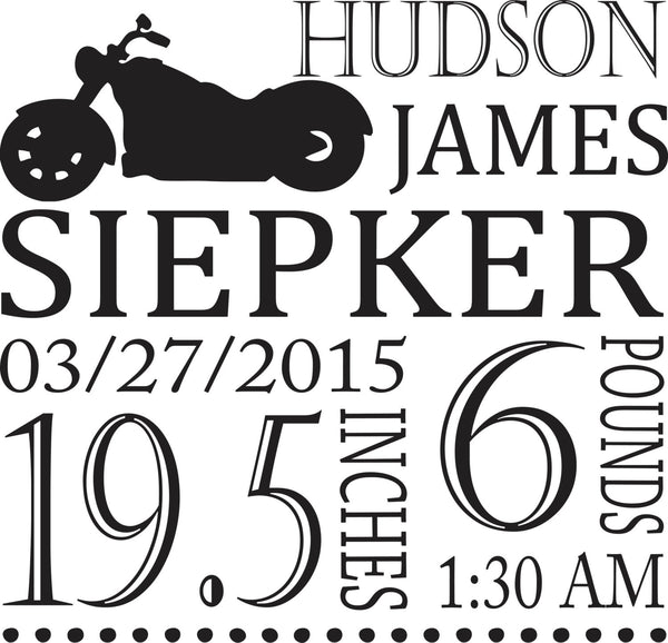 Motorcycle Themed Personalized birth pillow cover - Our Traditions Boutique - 1