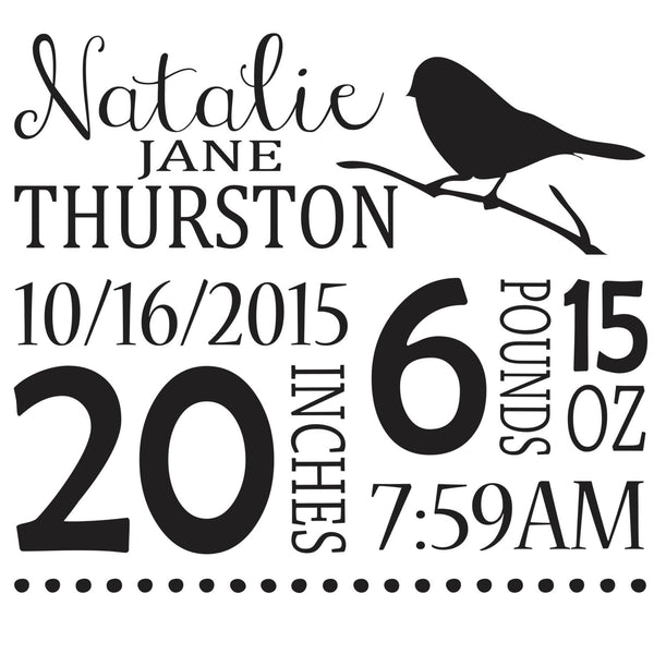 Bird Themed Personalized birth pillow cover - Our Traditions Boutique - 1