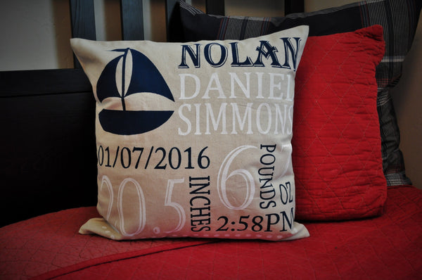 Sailboat Themed Personalized birth pillow cover - Our Traditions Boutique - 1