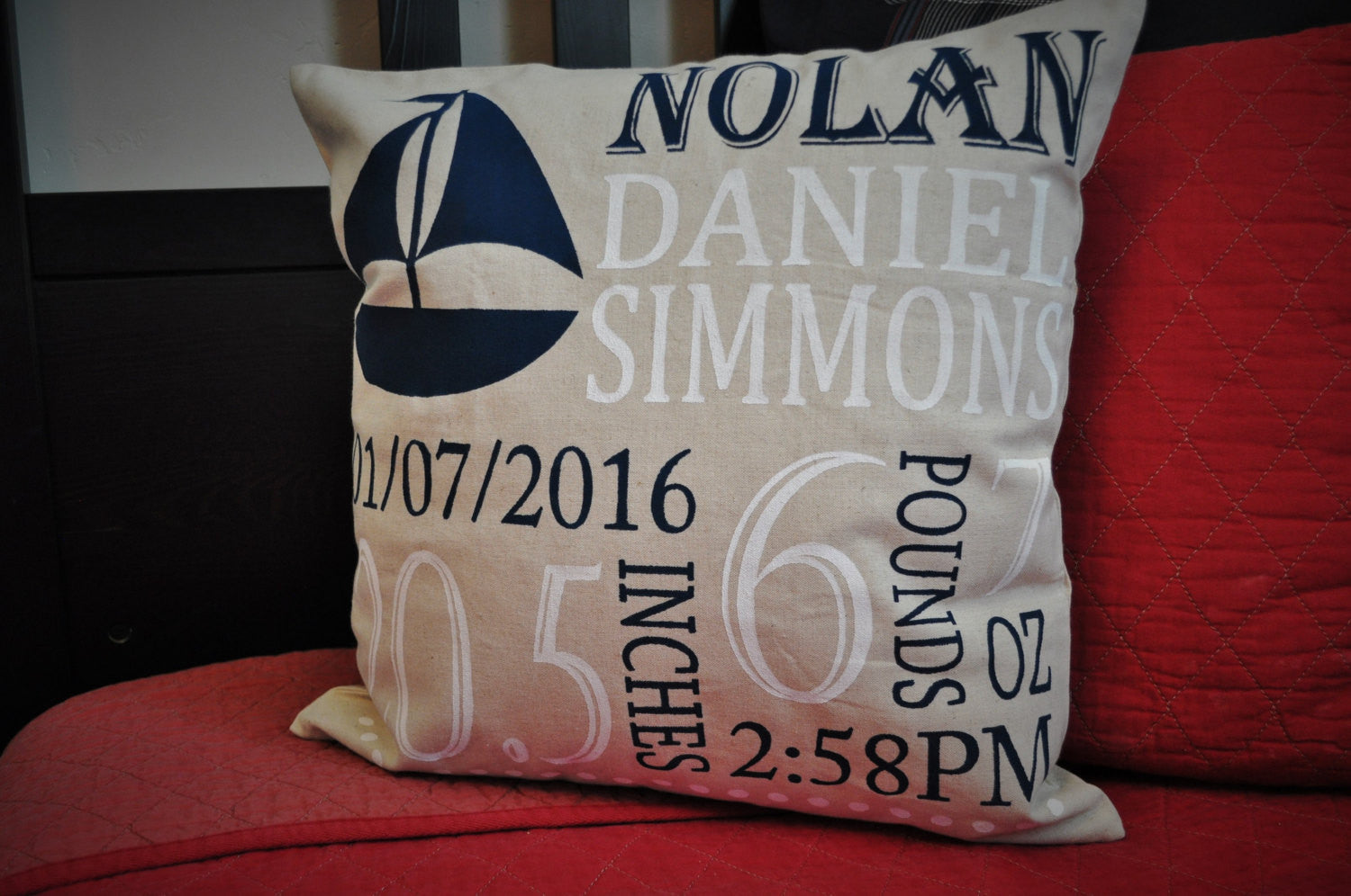 Sailboat Themed Personalized birth pillow cover - Our Traditions Boutique - 2