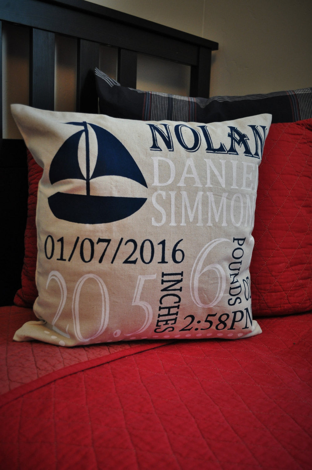 Sailboat Themed Personalized birth pillow cover - Our Traditions Boutique - 3