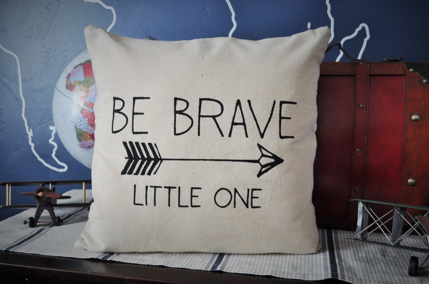Be brave pillow cover, be brave nursery, be brave bedroom, arrow decor, Be brave little one