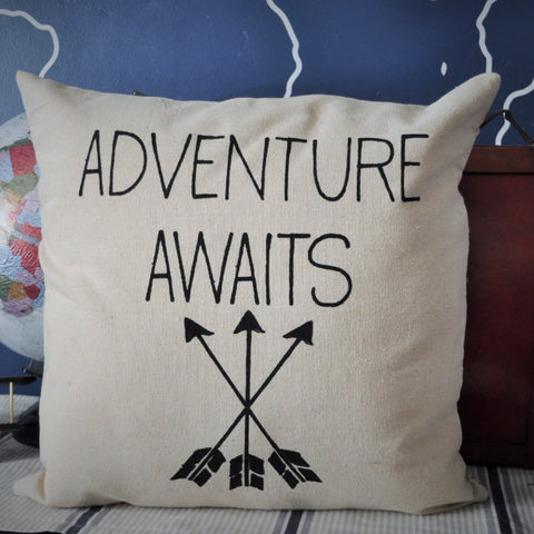Adventure awaits pillow cover - Our Traditions Boutique - 1