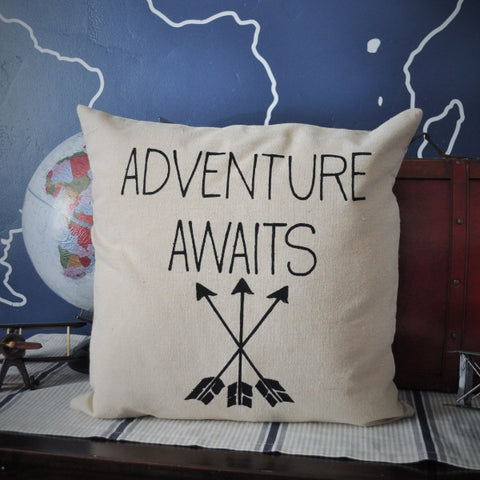 Adventure awaits pillow cover - Our Traditions Boutique - 2