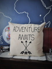 Adventure awaits pillow, arrow pillow, travel pillow, adventure pillow