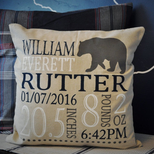 Bear themed Personalized birth pillow cover - Our Traditions Boutique - 1