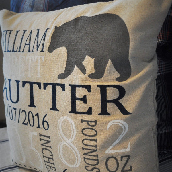 Bear themed Personalized birth pillow cover - Our Traditions Boutique - 3