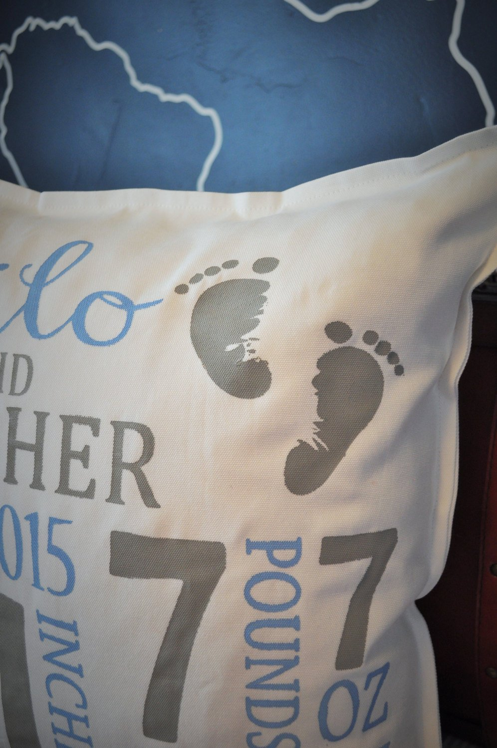 Personalized birth pillow cover, birth Announcement pillow cover, birth pillow cover, baby foot print, CUSTOMIZE, 18x18