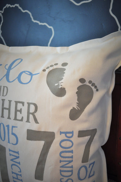 Baby Footprint Personalized birth pillow cover - Our Traditions Boutique - 3