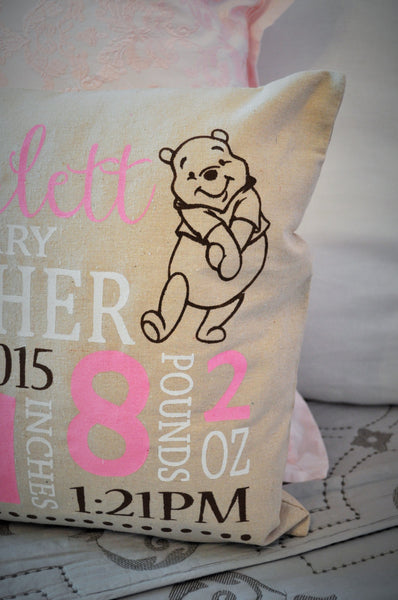Winnie the Pooh Themed Personalized birth pillow cover - Our Traditions Boutique - 3