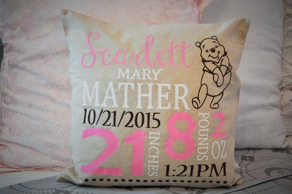 Winnie the Pooh Themed Personalized birth pillow cover - Our Traditions Boutique - 2