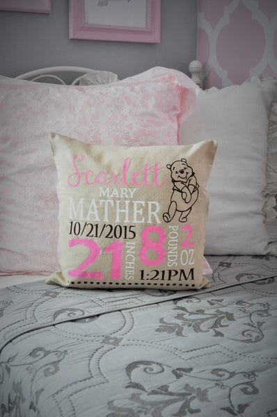 Winnie the Pooh Themed Personalized birth pillow cover - Our Traditions Boutique - 1