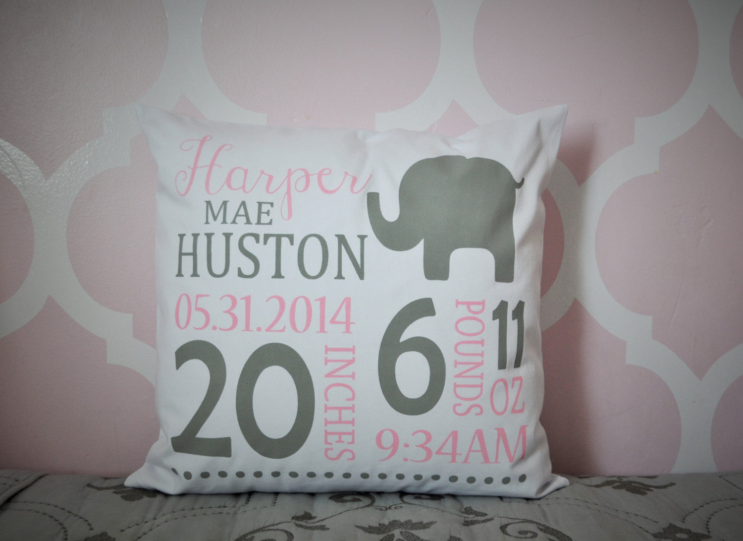 Elephant Themed Personalized birth pillow cover - Our Traditions Boutique - 1