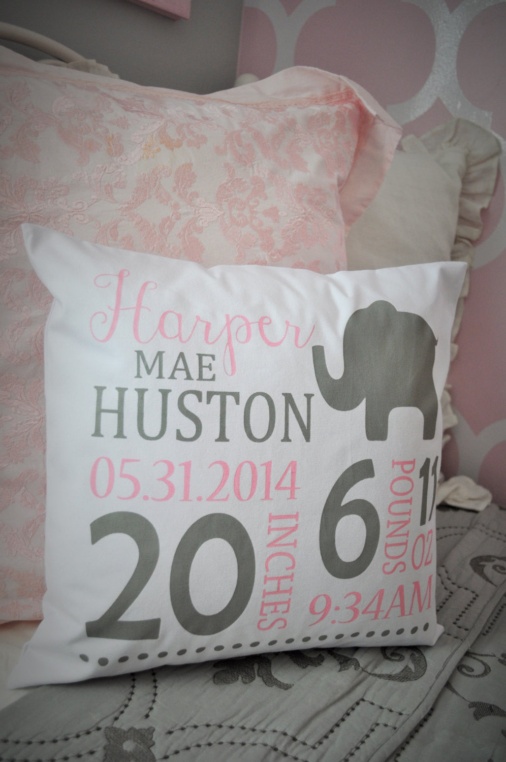 Elephant Themed Personalized birth pillow cover - Our Traditions Boutique - 2