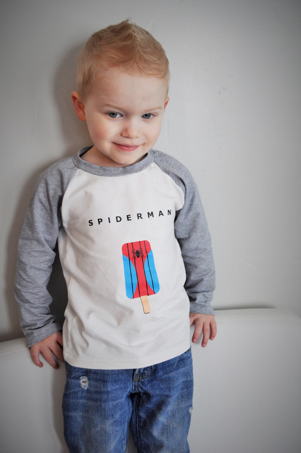 SALE, Super Hero Shirt, SPIDER MAN shirt, boys baseball shirt, Raglan shirt - Our Traditions Boutique - 1