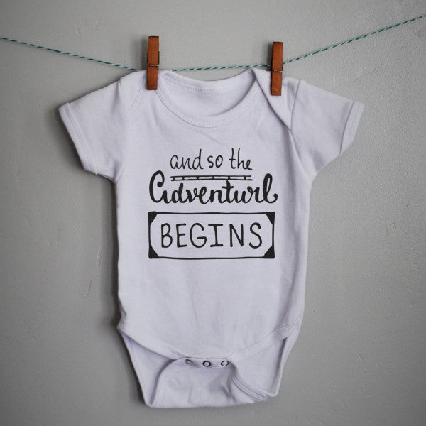 Adventure begins onesie for  baby boy or baby girl - Our Traditions Boutique - 1
