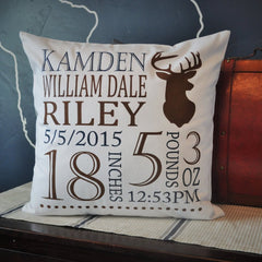Deer Hunter Personalized birth pillow cover - Our Traditions Boutique - 1
