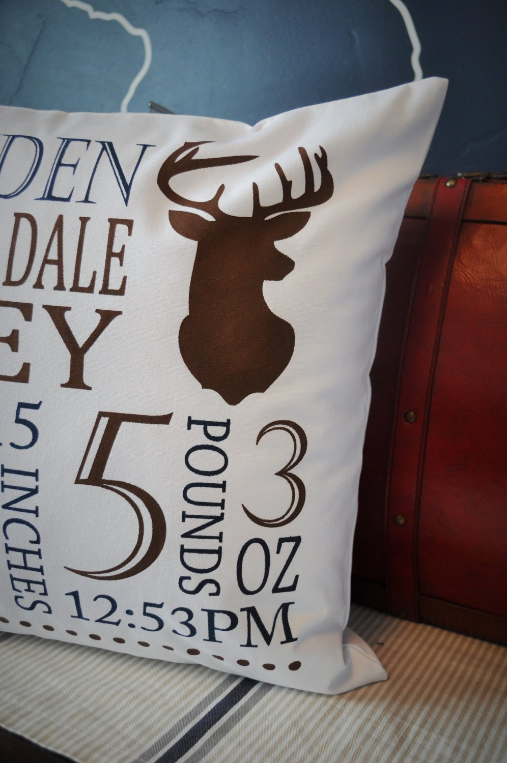 Personalized birth pillow cover, birth Announcement pillow cover, birth pillow cover, Deer Silhouette, Hunting Nursery