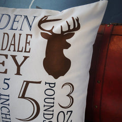 Deer Hunter Personalized birth pillow cover - Our Traditions Boutique - 2