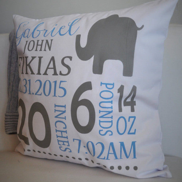 Birth Stats Personalized birth pillow cover - Our Traditions Boutique - 2