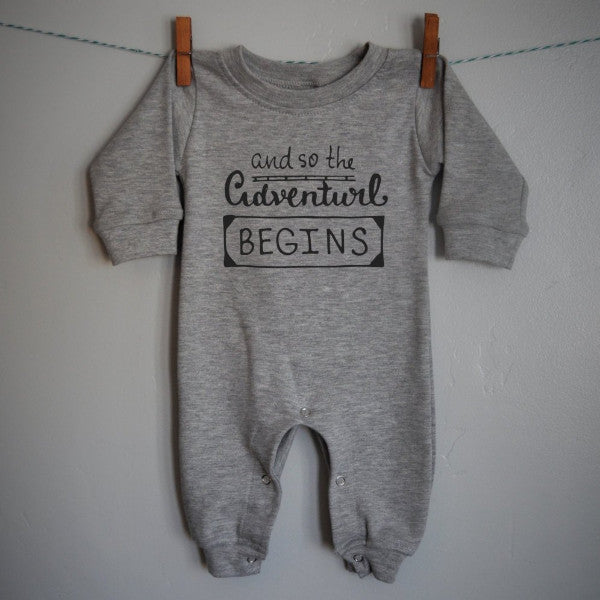 Adventure begins Long sleeve Romper for baby boy or baby girl - Our Traditions Boutique