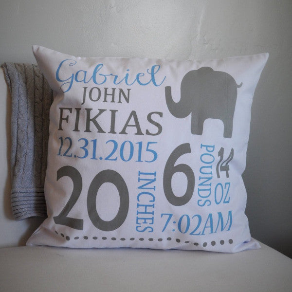 Birth Stats Personalized birth pillow cover - Our Traditions Boutique - 1