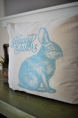 SALE, Easter Pillow Cover, Spring pillow, Happy Easter, Rabbit pillow cover, bunny pillow cover, 18x18,