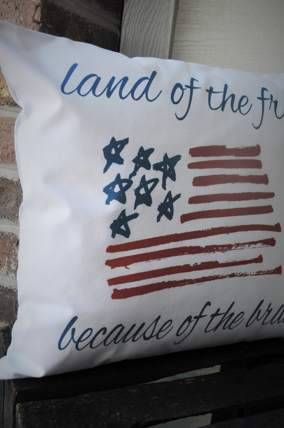 Land of the Free Patriotic pillow cover - Our Traditions Boutique - 2