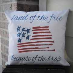 Land of the Free Patriotic pillow cover - Our Traditions Boutique - 1