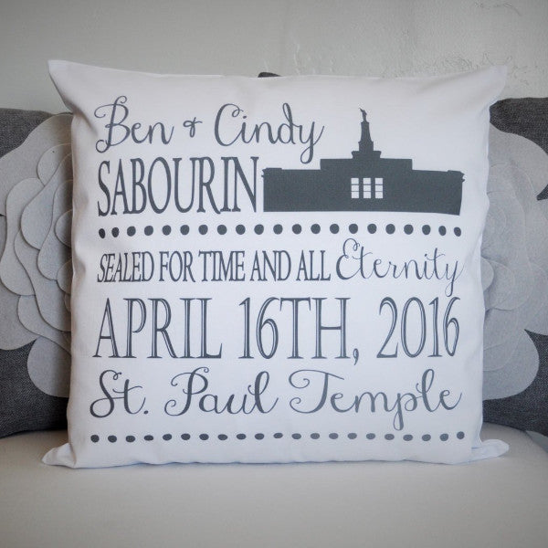lds wedding gift -  lds temple pillow cover - Our Traditions Boutique - 1