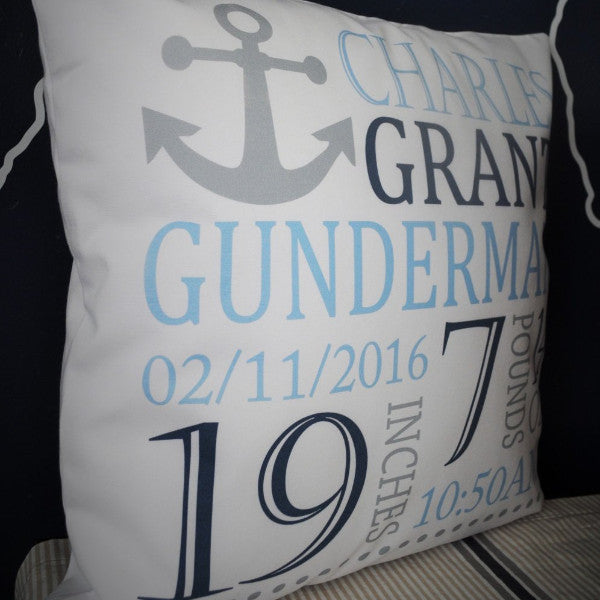 Anchor Themed Personalized birth pillow cover - Our Traditions Boutique - 2