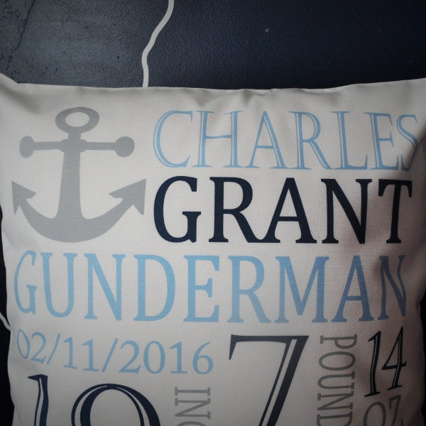 Anchor Themed Personalized birth pillow cover - Our Traditions Boutique - 3