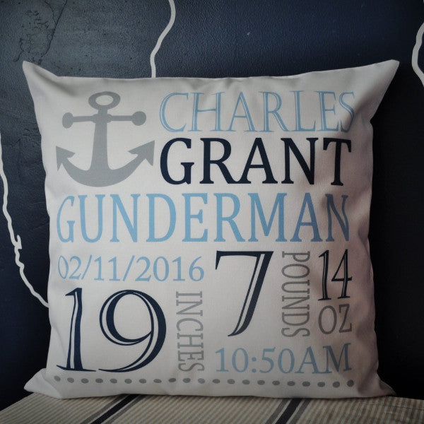 Anchor Themed Personalized birth pillow cover - Our Traditions Boutique - 1