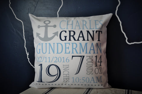 Personalized birth pillow cover, birth Announcement pillow cover, birth pillow cover, boy birth pillow, anchor nursery, CUSTOMIZE, 18x18