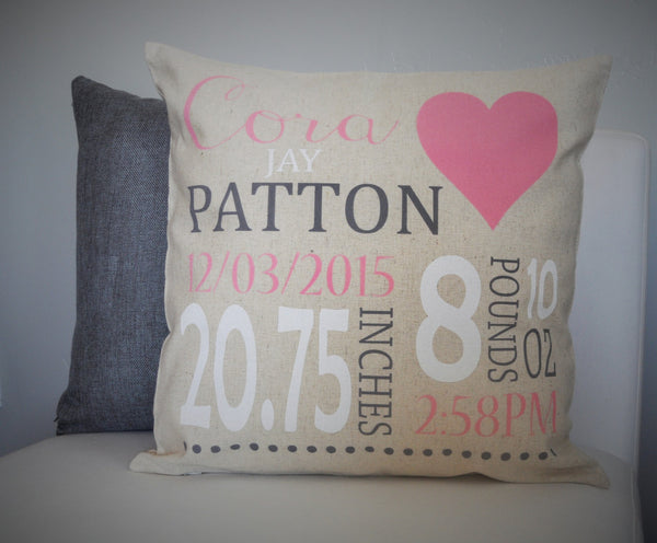 Heart Themed Personalized birth pillow cover - Our Traditions Boutique - 4