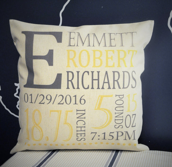 Initials of baby Personalized birth pillow cover - Our Traditions Boutique - 1