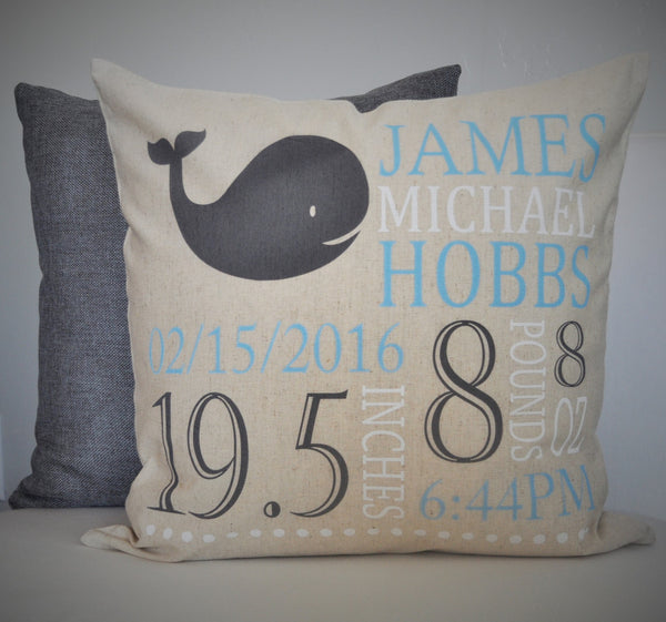 Whale Themed Personalized birth pillow cover - Our Traditions Boutique - 1