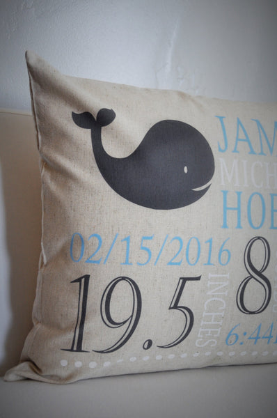 Whale Themed Personalized birth pillow cover - Our Traditions Boutique - 2