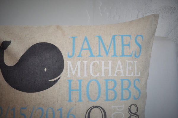Whale Themed Personalized birth pillow cover - Our Traditions Boutique - 3