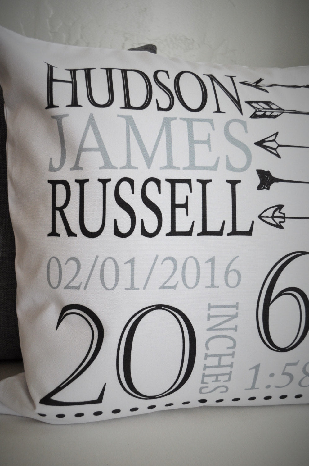 Personalized birth pillow cover, birth Announcement pillow cover, birth pillow cover, aztec nursery, arrow nursery