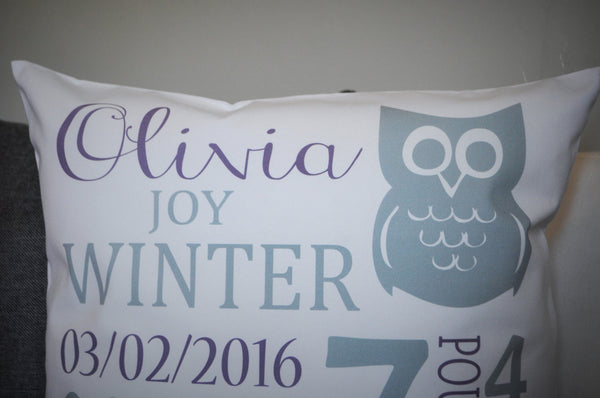 Ow; Themed Personalized birth pillow cover - Our Traditions Boutique - 3