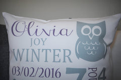 Personalized birth pillow cover, birth Announcement pillow cover, birth pillow cover, baby girl birth pillow, purple and gret pillow, 18x18